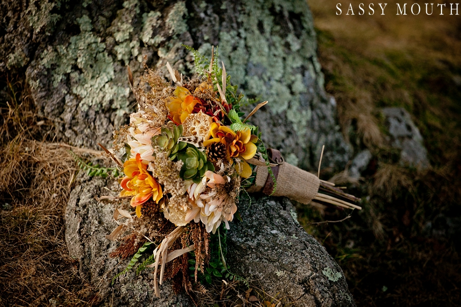 Stunning Fall Wedding Bouquet from a Pocahontas Inspired Wedding - by Sassy Mouth Photography