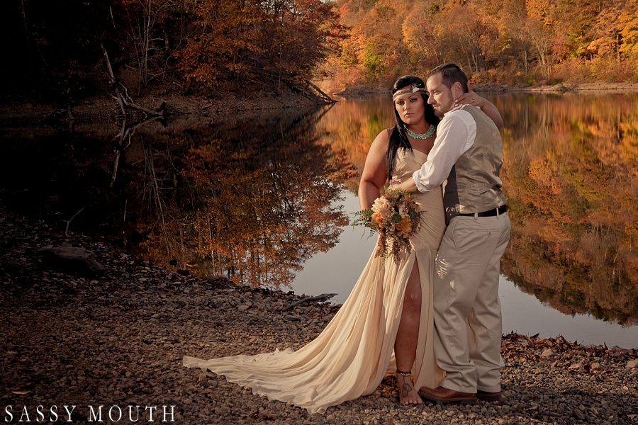 Gorgeous fall colors from a Pocahontas Inspired Wedding Photo Shoot - by Sassy Mouth Photography