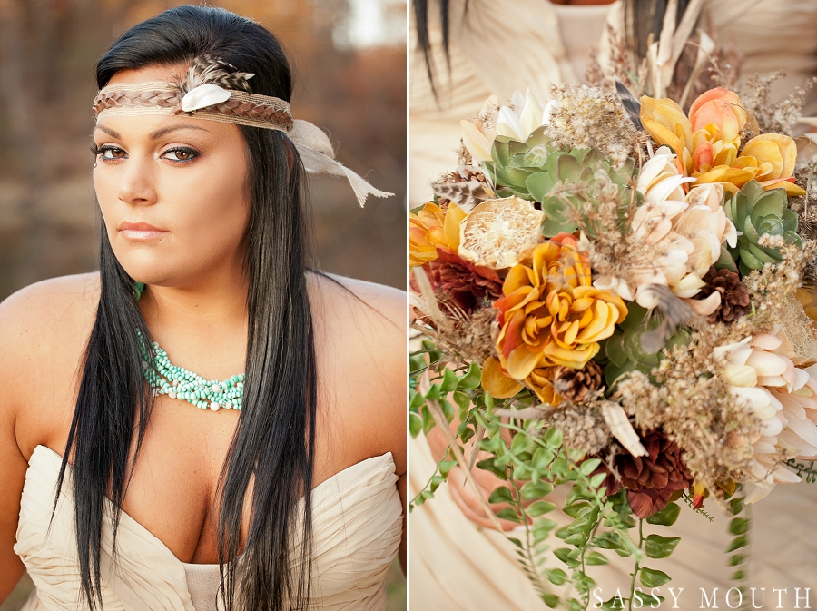 A beautiful head wrap and bouquet from a Pocahontas Inspired Wedding - by Sassy Mouth Photography
