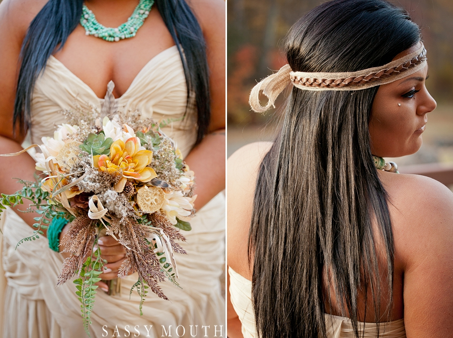 Indian inspired head wrap and bouquet from a Pocahontas Wedding Photo Shoot - by Sassy Mouth Photography