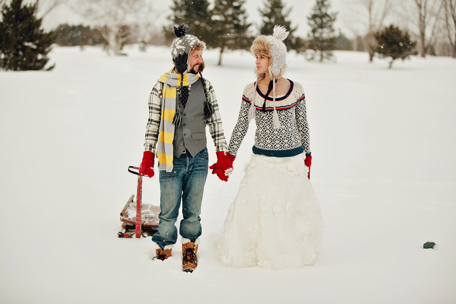 Winter Wedding Photo Session : Playing in the Snow   photographed by Caroline Ross Photography