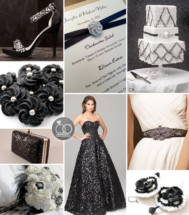 New Year's Eve Wedding Inspiration Board #glitter #sequins #black #blackweddingdress