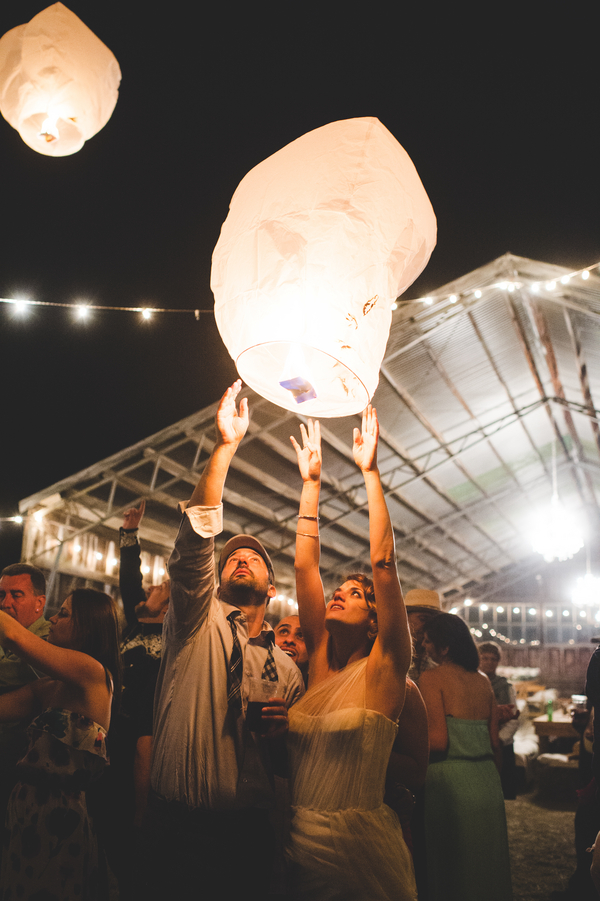 Rustic Wedding Lantern Send-Off | photo by Jessica Oh Photography