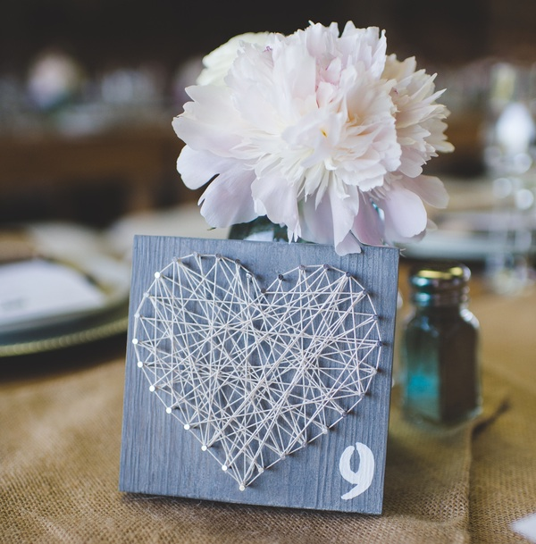 Heart Table Number Sign | photo by Jessica Oh Photography