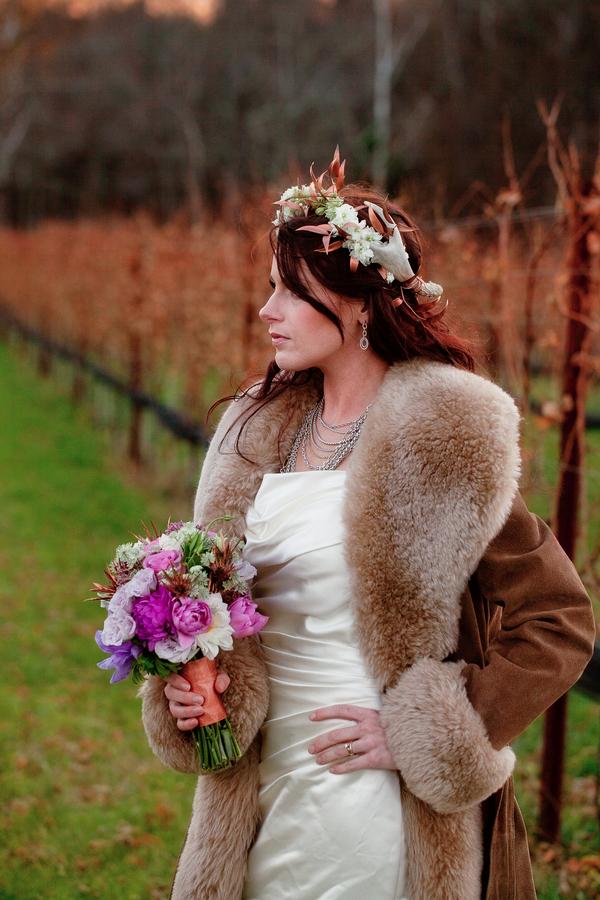 Midwinter Night's Dream Wedding | Bride in Vineyard | Styled Shoot | Katie Rose LLC | Florals by Eight Tree Street | Photo by Mollie Tobias Photography #vineyardweddings #purple