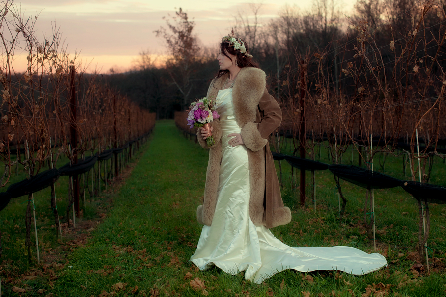Midwinter Night's Dream Wedding Themed Styled Shoot in a vineyard | Katie Rose LLC | Florals by Eight Tree Street | Photo by Mollie Tobias Photography