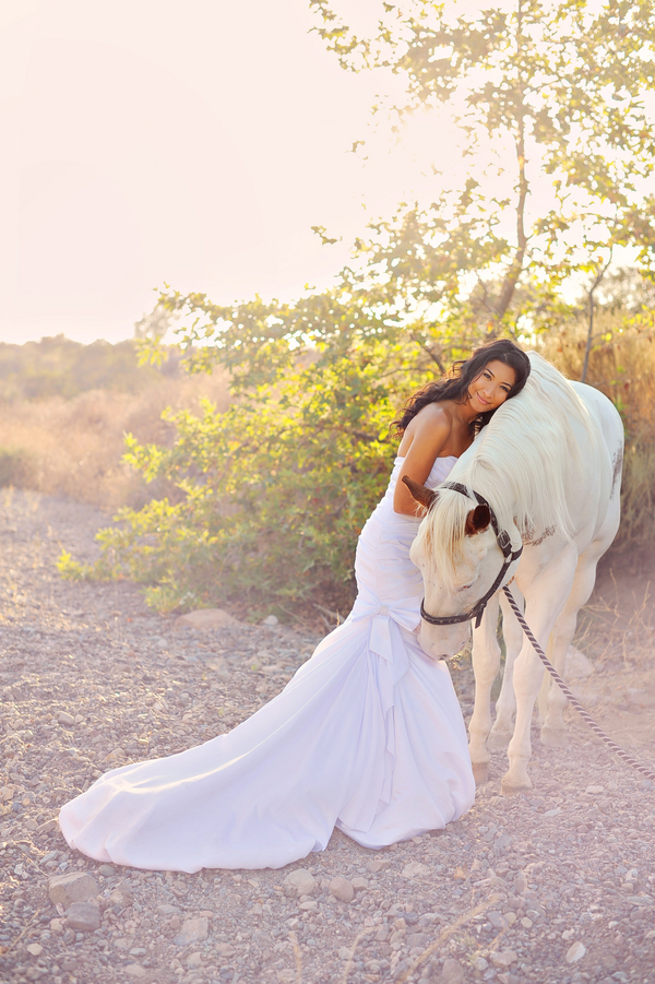 Gorgeous Bridal Portrait with a white horse   from Arina B Photography