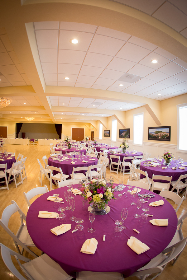 Purple wedding reception room | photo by Portrait Design by Shanti