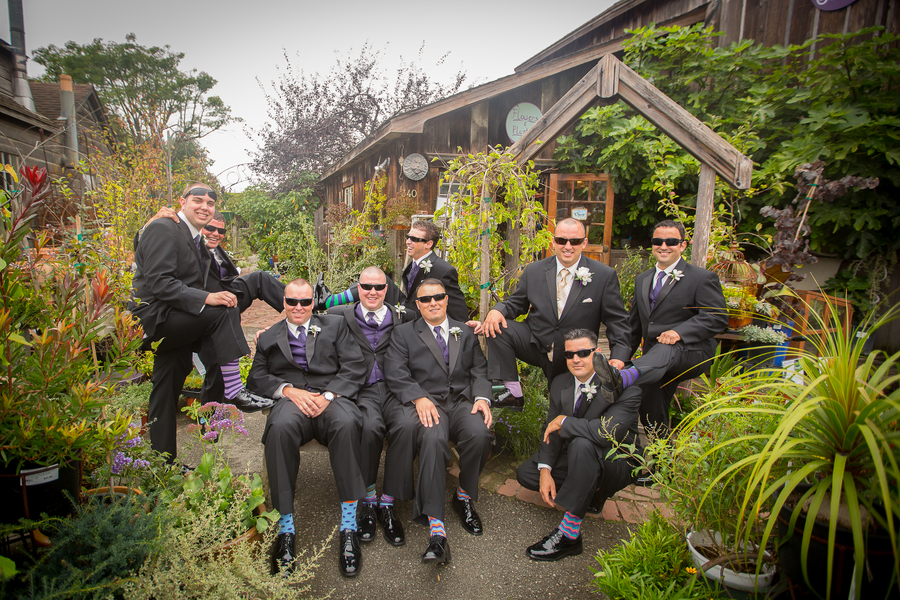 Groom and his groomsmen - group photos taken in a Flower Shop and Nursery | photo by Portrait Design by Shanti