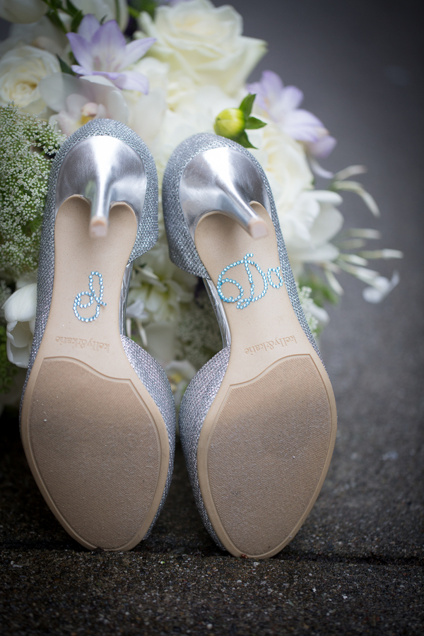 Silver Wedding Shoes with I Do Rhinestone Stickers | photo by Portrait Design by Shanti