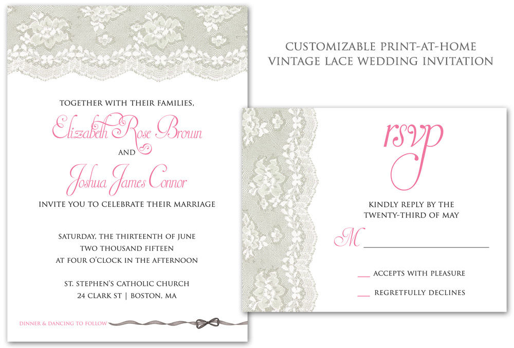 Vintage Lace Wedding Invitation - customizable and it's a DIY print-at-home template #DIYinvitations #weddinginvitations #weddinglace #vintageweddings #customweddinginvitations #bridalshowerinvitations