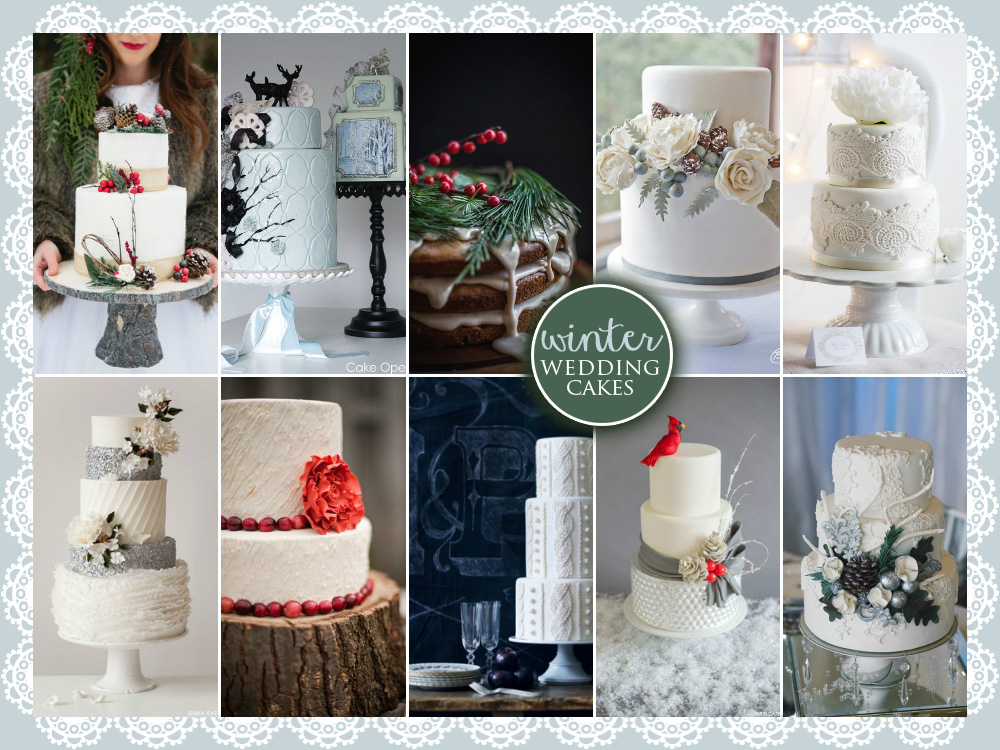 My 10 Favorite Winter Wedding Cakes #winterweddings #winterweddingcakes #weddingcakes #nakedcakes #valentinesdayweddingcakes