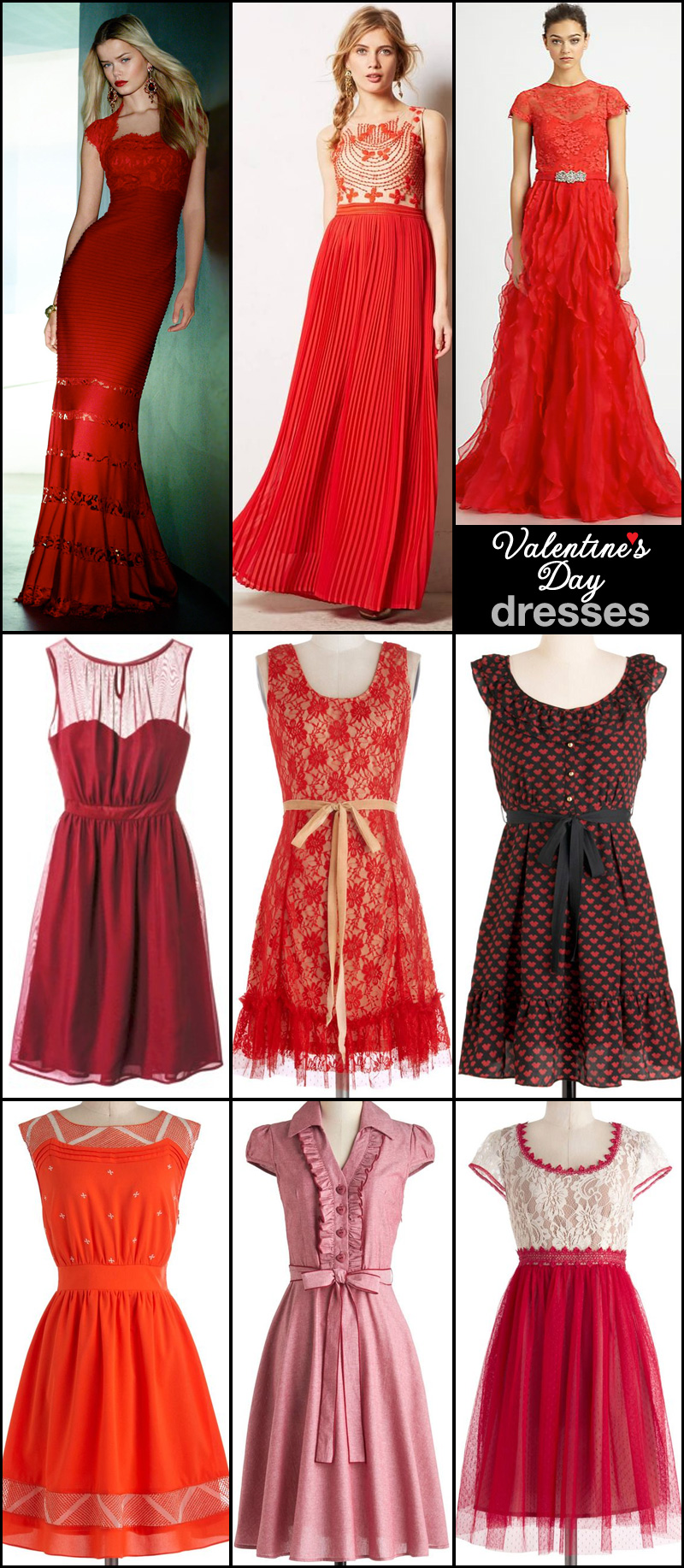 Valentine's Day Dresses in red and black #elegant #formal #casual #reddresses #valentinesdaydresses #lace