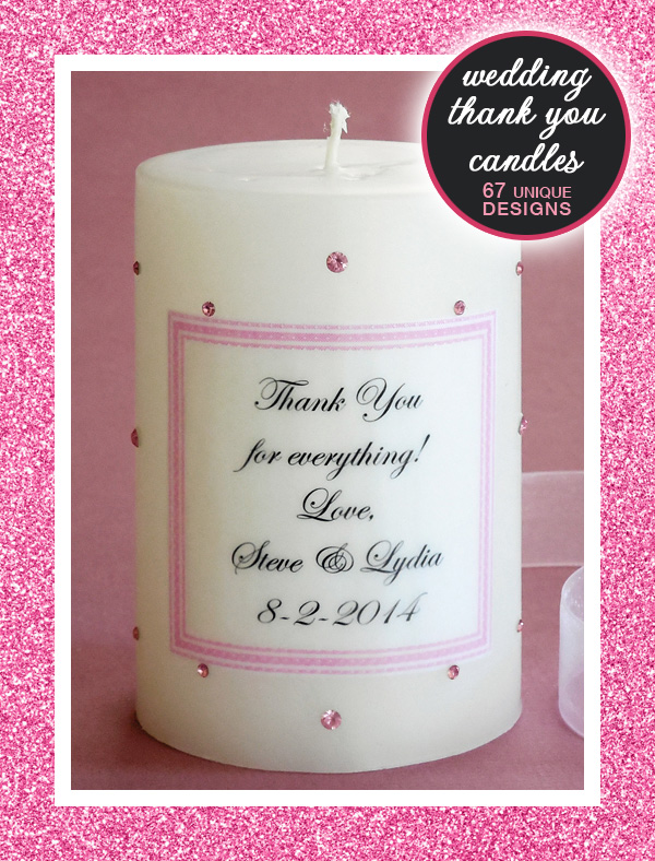 Wedding Candles for Thank You Gifts to parents, bridesmaids or anyone else in your wedding - 67 unique designs to choose from | from Weddings are Fun