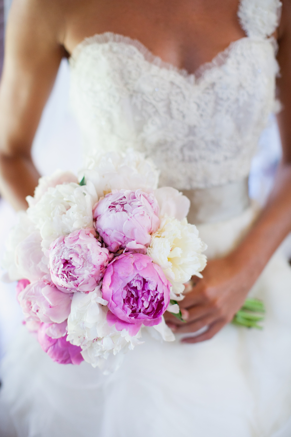 bride with her beautiful pink and white wedding bouquet | photo by Mary Dougherty Photography