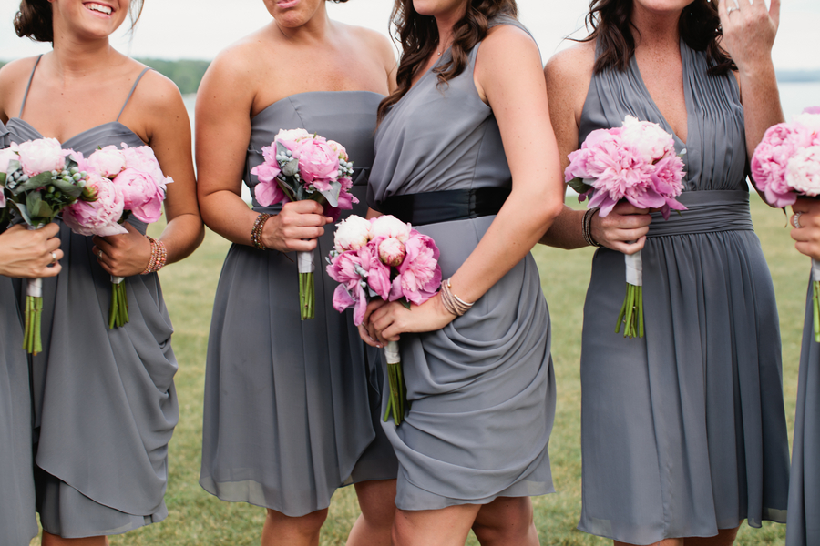bridesmaids in grey Watters dresses of different styles to suit their individual personality | photo by Mary Dougherty Photography
