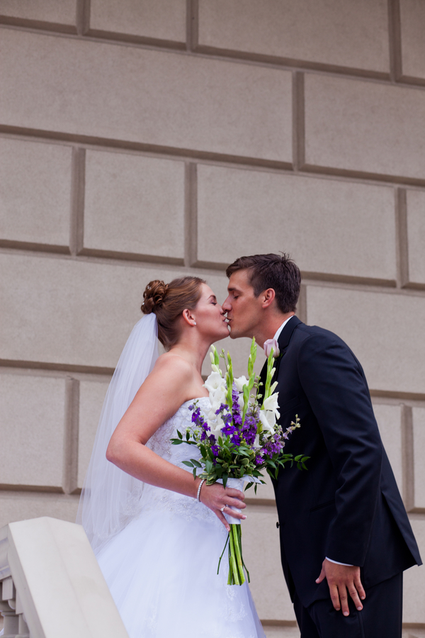 the first kiss after the #firstlook | photo by Kate's Lens Photography
