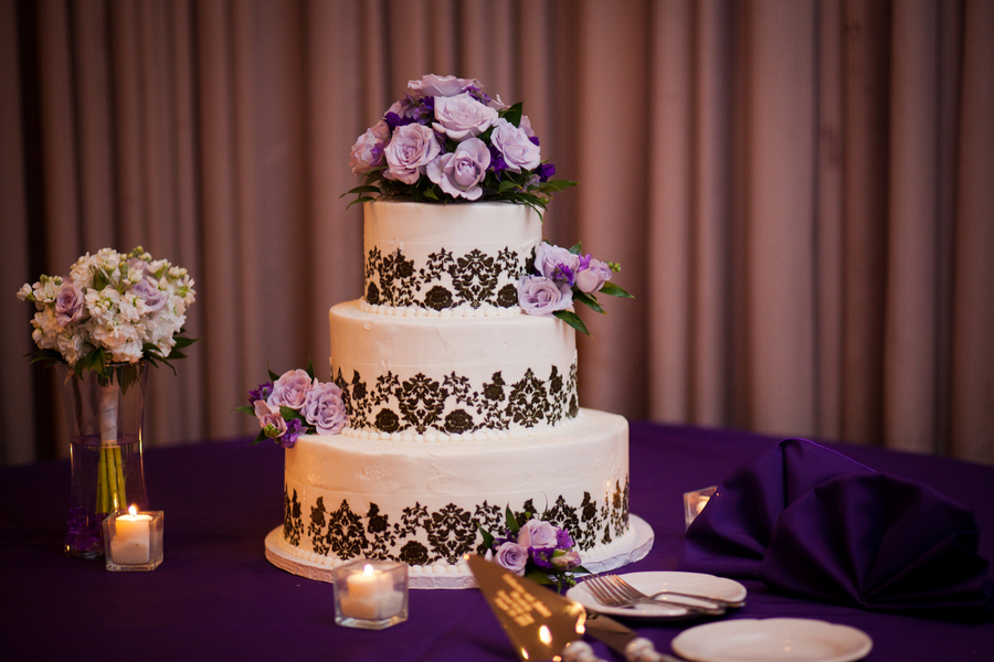 purple and black damask wedding cake | photo by Kate's Lens Photography