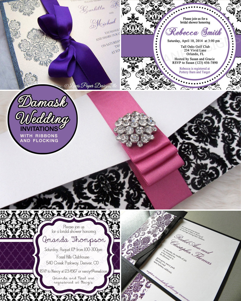 Damask Wedding Invitation Round-up in purple and black - invitations featuring both printables and embellishments