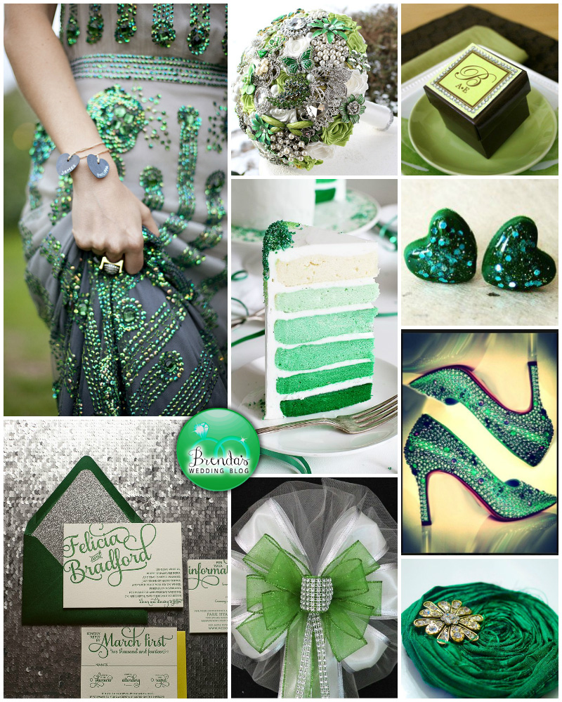 #emerald #green and #lime #wedding inspiration board | lots of glitter, sparkles and bling #brendasweddingblog