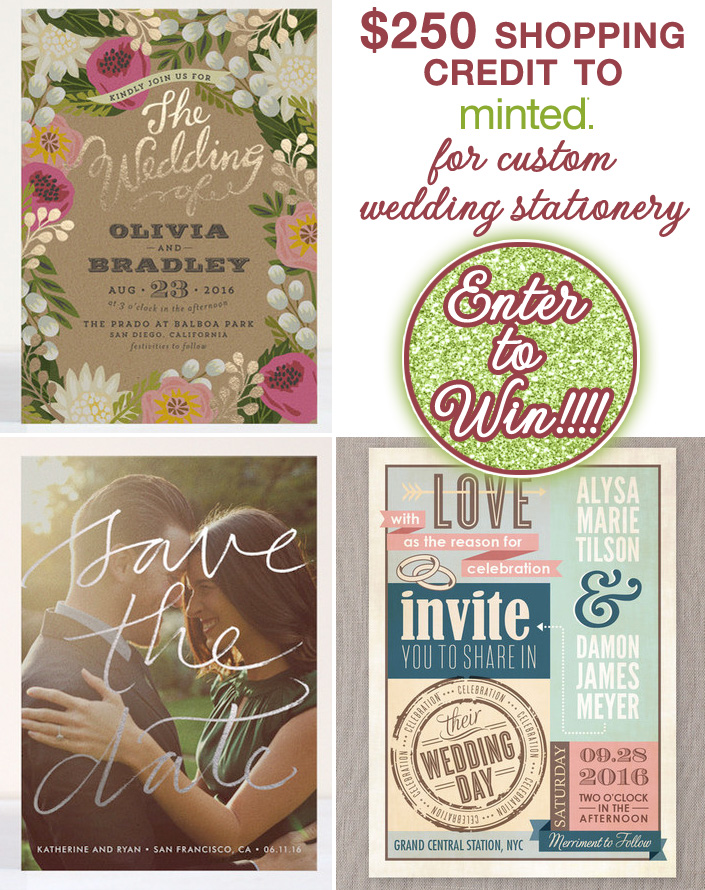 Win $250 in custom #WeddingStationery from Minted.com on #brendasweddingblog. #Giveaway ends March 31st at 11:59 pm est