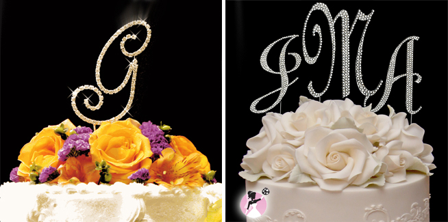 Wedding Reception Monogram Cake Toppers from www.withthisbling.com #weddingmonograms #withthisbling