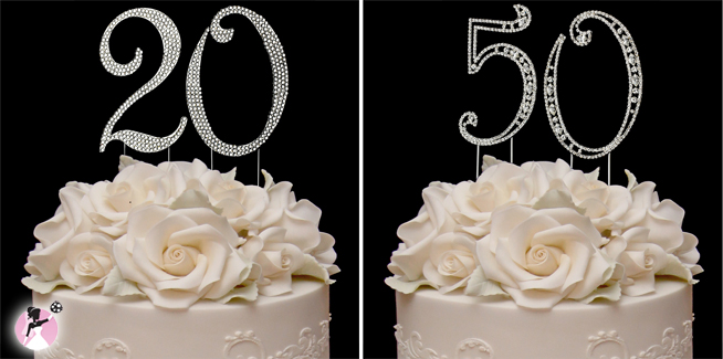 Anniversary Cake Toppers #weddinganniversaries #numbercaketoppers www.withthisbling.com #withthisbling