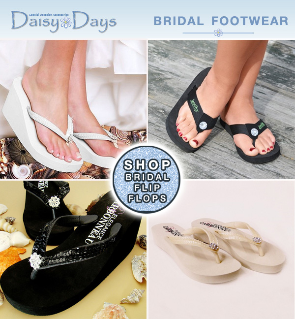 Bridal Flip Flops for weddings and honeymoons from www.daisy-days.com #BridalFlipFlops #BridalPartyGifts