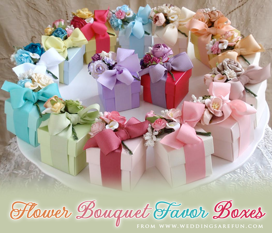 Flower Bouquet Favor Boxes - tied with ribbon and filled with goodies of your choice | from www.weddingsarefun.com