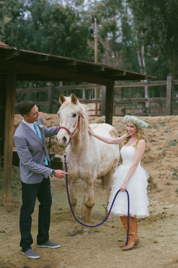 rustic wedding styled photo shoot with a horse from The Bradford Ranch