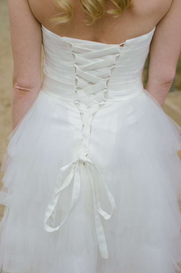 gorgeous back of the handmade wedding dress by Iselle Design Studio | photo by John DeFiora Photography