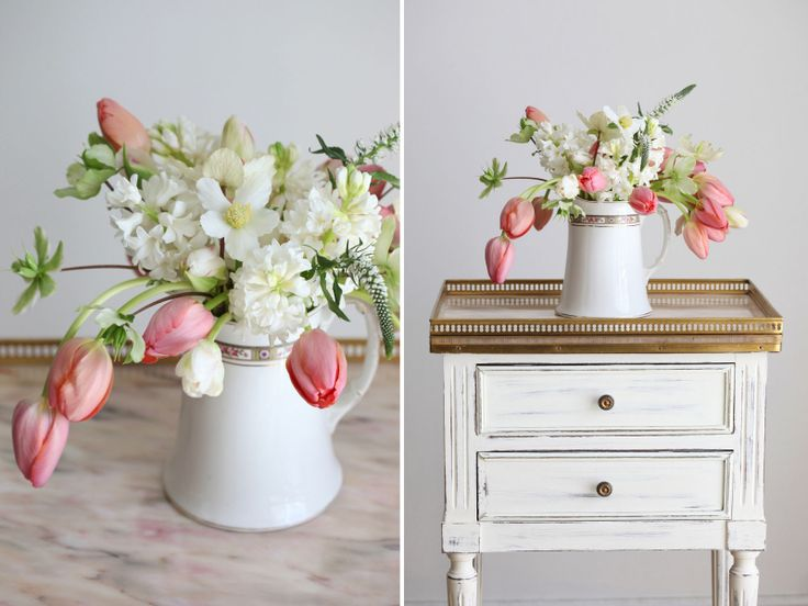 Pretty Spring Wedding Centerpiece idea with tulips fromScarlet's Table www.scarletstable.com