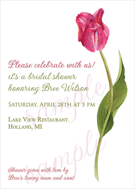 Customized #Tulip #Invitation for any special event - printable template #springweddings #bridalshowers