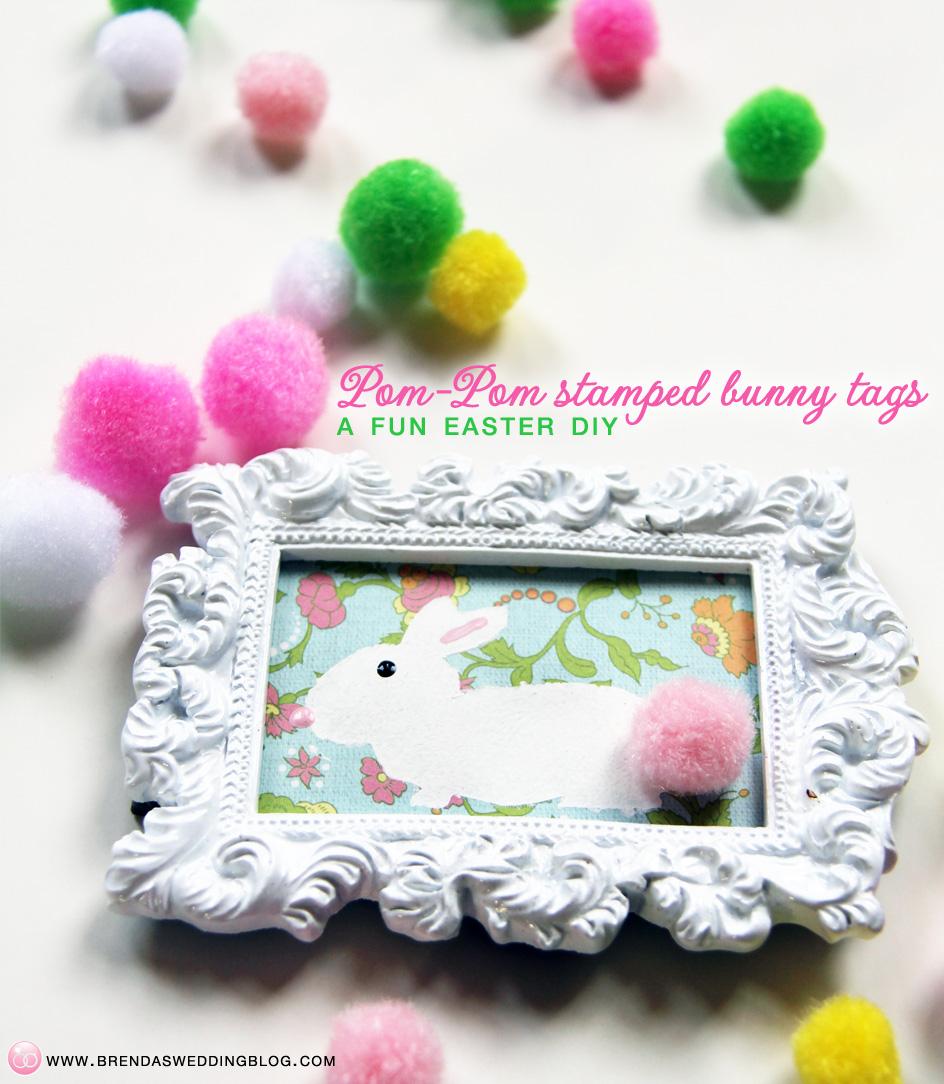 Pom-Pom Stamped Bunny Tags | DIY Tutorial at www.brendasweddingblog.com/blogs/2014/4/18/pom-pom-stamped-bunny-tags-a-fun-last-minute-easter-diy