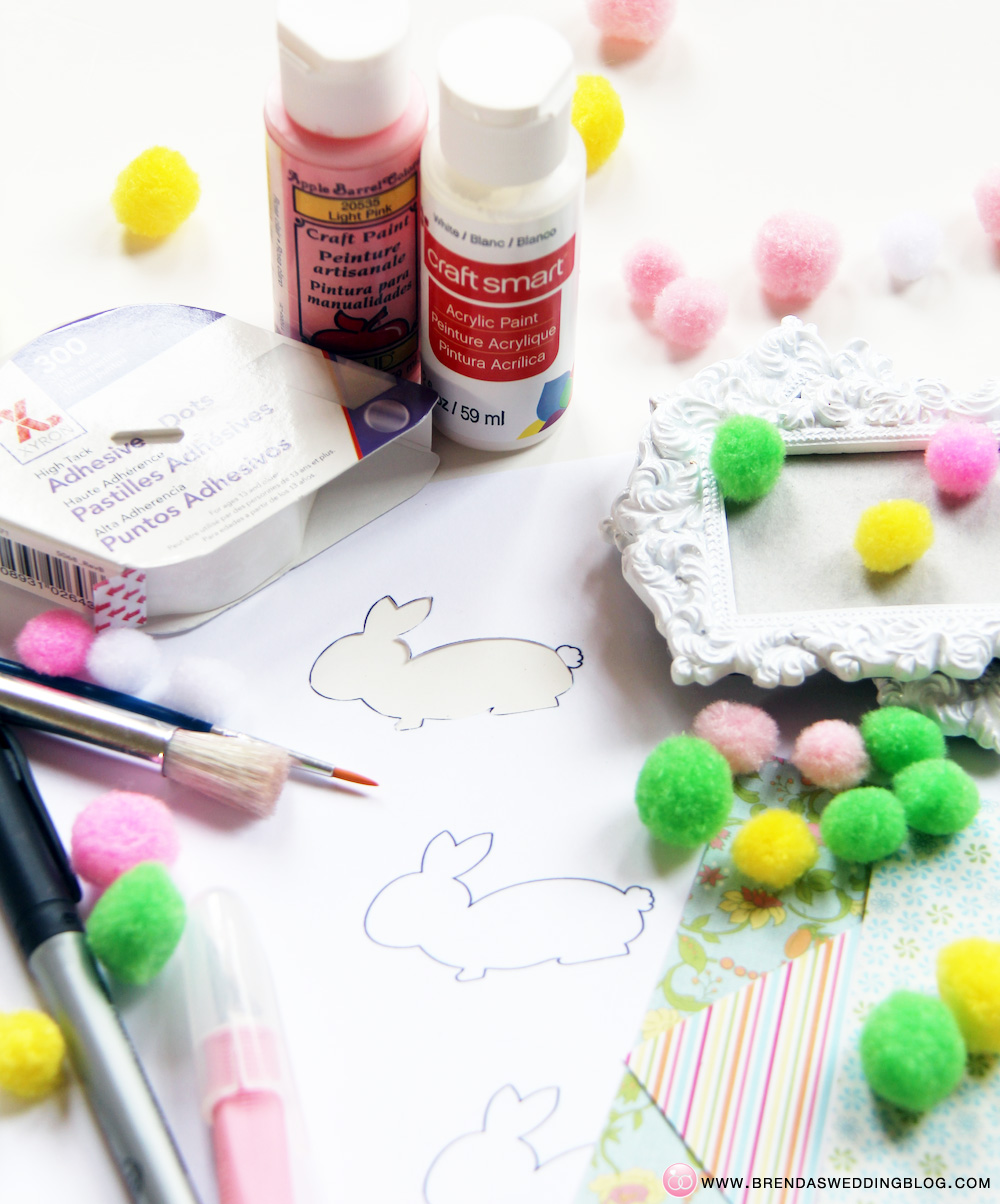 Stamped Bunny Tag DIY Tutorial - using xyron glue dots and pom-poms | DIY on www.brendasweddingblog.com/blogs/2014/4/18/pom-pom-stamped-bunny-tags-a-fun-last-minute-easter-diy