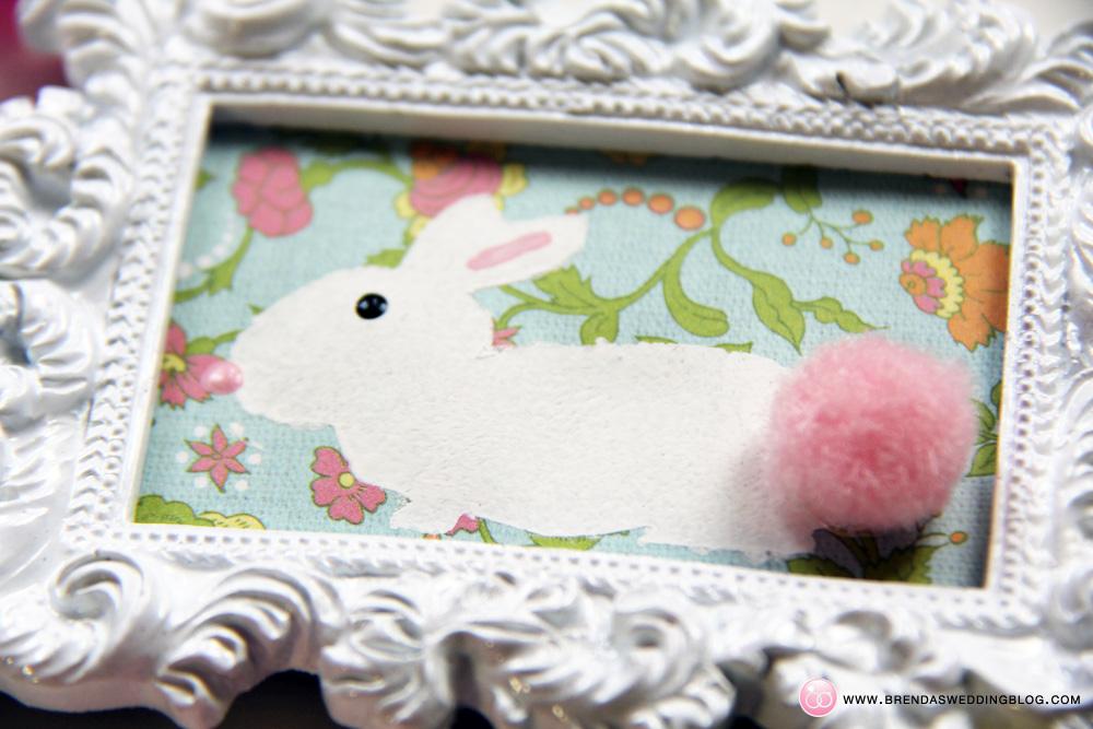 Stamped Bunny Tag with a pom-pom tail | DIY on www.brendasweddingblog.com/blogs/2014/4/18/pom-pom-stamped-bunny-tags-a-fun-last-minute-easter-diywww.brendasweddingblog.com