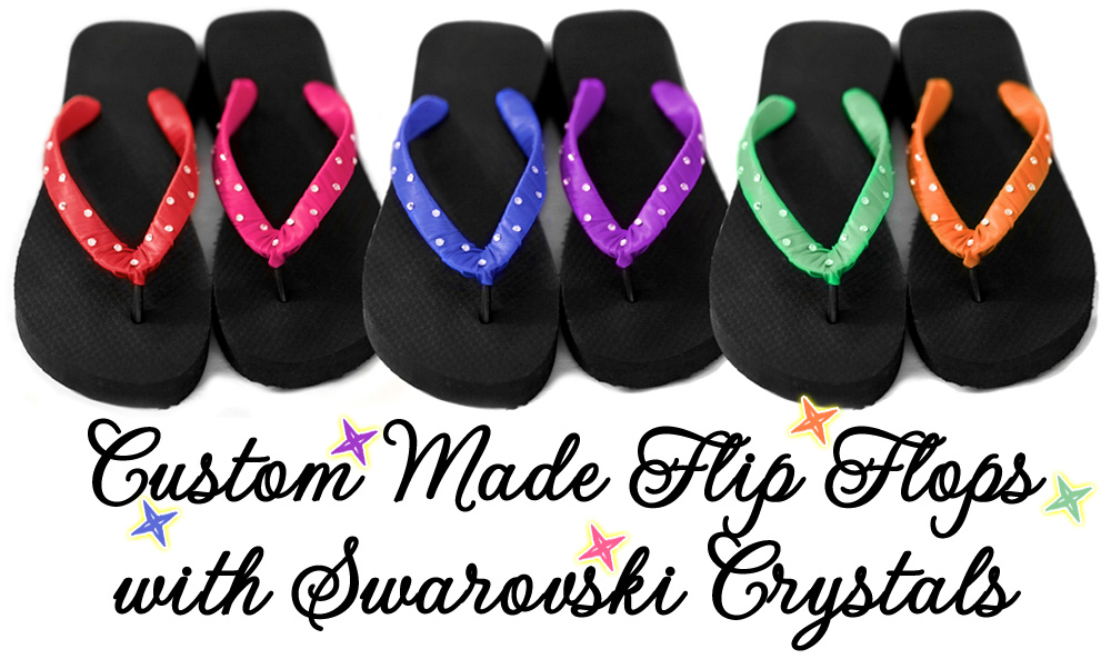 Custom Made Wedding Flip Flops with Swarovski Crystals from Weddings are Fun