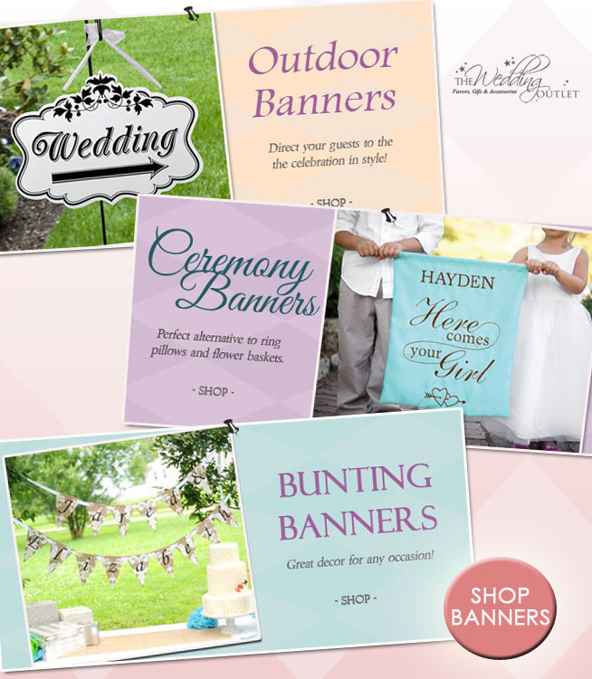 So many great uses for Wedding Banners : including ceremony banners, bunting banners as decor and outdoor / reception banners to direct your guests to the celebration