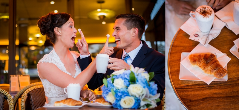 Couple having fun at a Parisian-cafe on their elopement to Paris, France   planned by Paris Weddings by Toni G.   photography by The Paris Photographer
