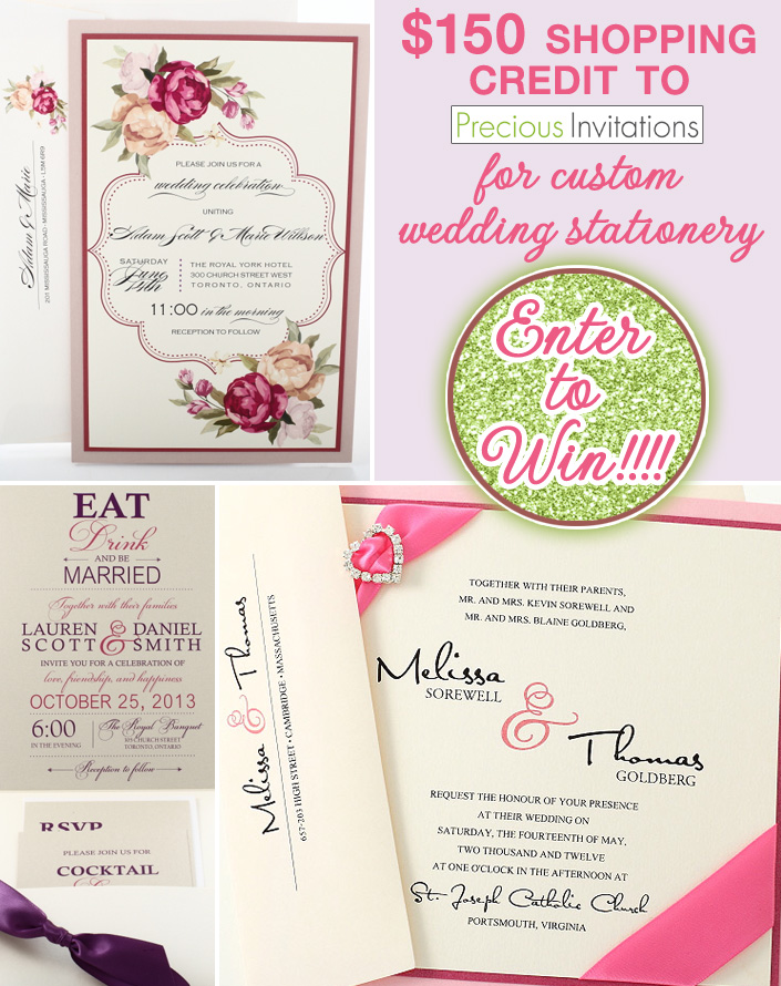You could win $150 in custom wedding stationery from Precious Invitations on www.brendasweddingblog.com
