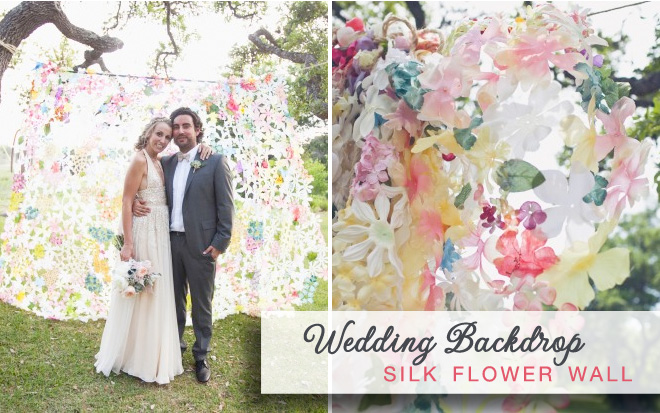 Silk flower wall for wedding backdrops - perfect for behind dessert displays, photos of wedding guests or the photo booth {image via Martha Stewart Weddings}