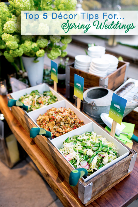 Top 5 Décor Tips for Spring Weddings {edible salad garden with gardening shovels as the serving utensil} | from Josh Tierney of Great Performances for www.brendasweddingblog.com