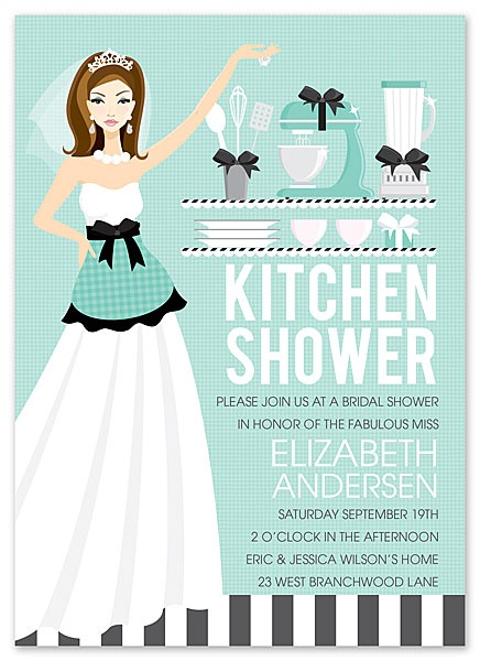 Kitchen Themed Bridal Shower Invitations {can personalize the invitation with the bride's hair color}