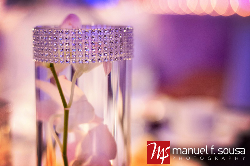 Rhinestone Ribbon Banding on Glass Vase | photo by Manuel F. Sousa Photography | Wedding Coordination by Madeline's Weddings and Events