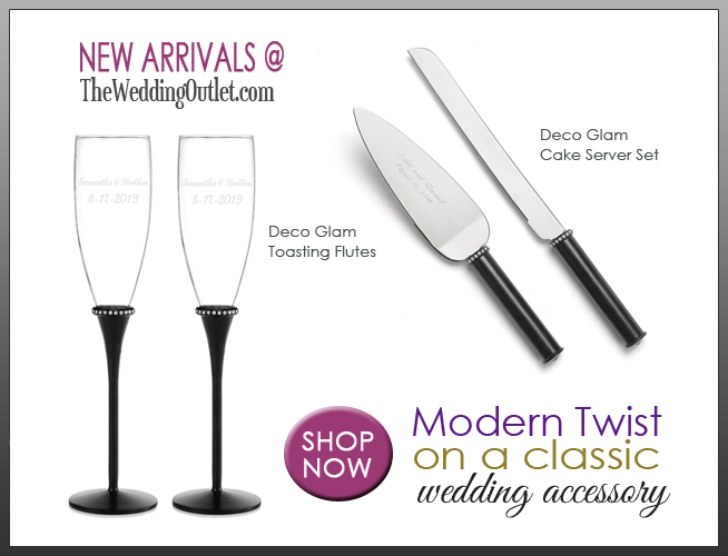 Deco Glam Toasting Flutes and Cake Server Set : classic wedding accessories with a modern twist
