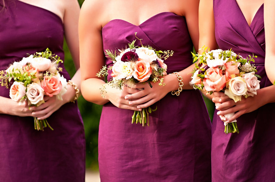 Pretty mini bouquets for the bridesmaids in plum dresses | photo by wwww.EverAfterVisuals.com as seen on www.brendasweddingblog.com