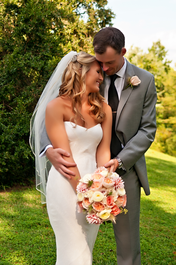 Sweet moment with the bride and groom during their first look | photo by wwww.EverAfterVisuals.com as seen on www.brendasweddingblog.com