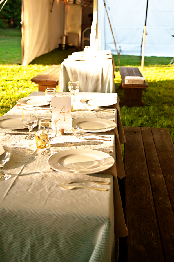 An Elegant Picnic Style Table Setting for an Outdoor Wedding | photo by wwww.EverAfterVisuals.com as seen on www.brendasweddingblog.com