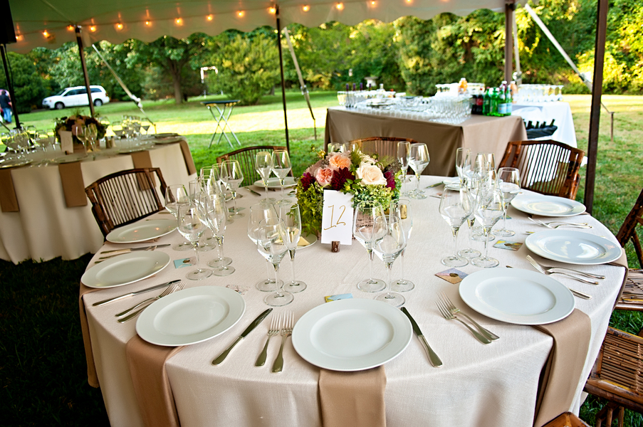 Table Setting for an Outdoor Mansion Wedding in Virginia | photo by wwww.EverAfterVisuals.com as seen on www.brendasweddingblog.com