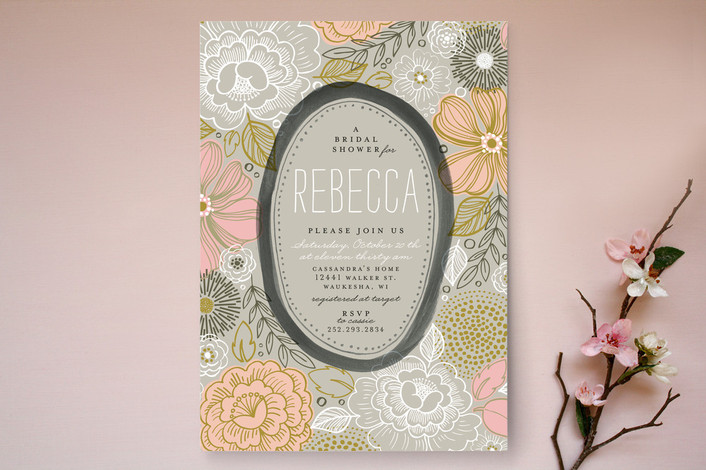Peony Frame Bridal Shower Invitation